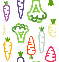 seamless pattern with funny vegetables vector image