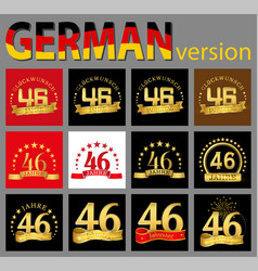 set of number forty-six 46 years celebration vector image