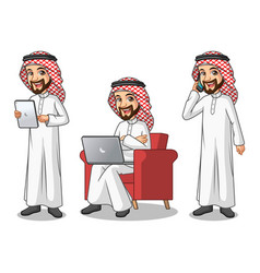 Set of saudi arab man working on gadget vector