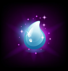 shiny blue water drop icon for slot machine game vector image