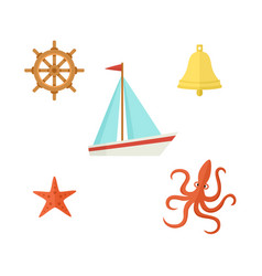 Ship steering wheel bell starfish octopus vector