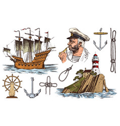 skipper with pipe lighthouse and sea captain vector image