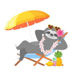 Sloth character resting on beach vector