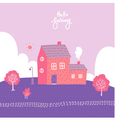 spring landscape with cozy house fields and vector image