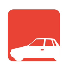 square red button with silhouette car vector image
