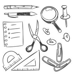 stationery sketch set - scissors pencil pen button vector image