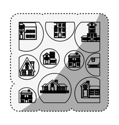 sticker silhouette pattern with houses logo design vector image