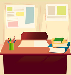 Student table with textbooks copybook pensils in vector