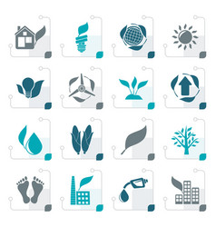 stylized environment and nature icons vector image