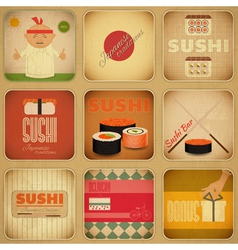 Sushi labels vector