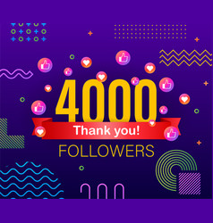 thank you 4000 followers numbers congratulating vector image