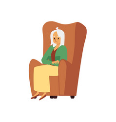 Tired sad aged woman sit in armchair a flat vector