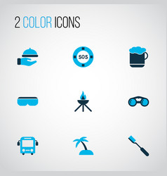 tourism icons colored set with sand with palm vr vector image