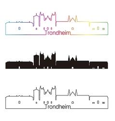 Trondheim skyline linear style with rainbow vector