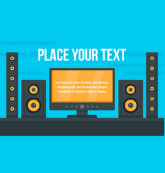 Tv stereo system concept banner flat style vector