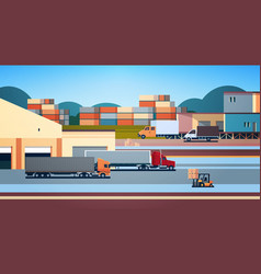 Warehouse industrial container semi trailer vector