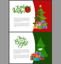 warm wishes merry and bright christmas postcard vector image