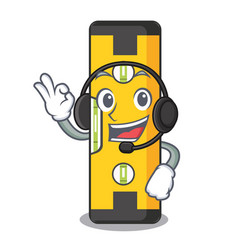With headphone spirit level in a cartoon bag vector
