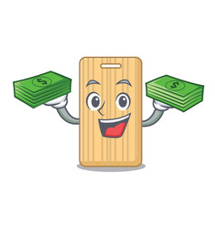 With money wooden cutting board mascot cartoon vector