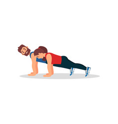 woman doing plank press exercise with her personal vector image