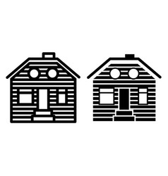 Wooden house line and glyph icon suburban family vector