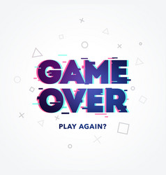 word game over play again glitch and noise style vector image