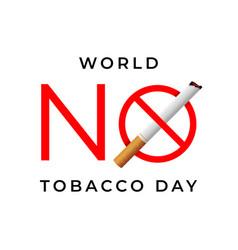 World no tobacco day sign vector