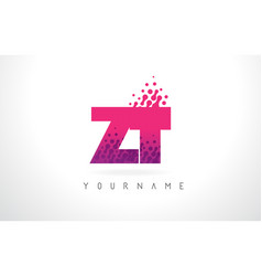 zt z t letter logo with pink purple color and vector image