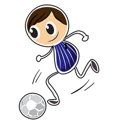 A sketch of a boy playing soccer vector image