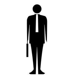 black silhouette bussinesman vector image