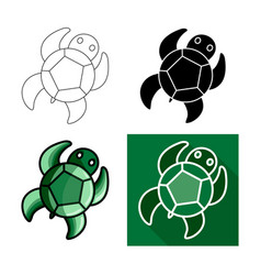 sea turtle icon flat long shadow design vector image vector image