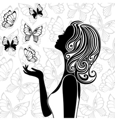 Silhouette of young woman with flying butterflies vector image vector image
