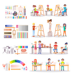 Art school students and supplies for creating set vector