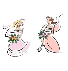 Brides in pink wedding gowns with flowers vector image vector image