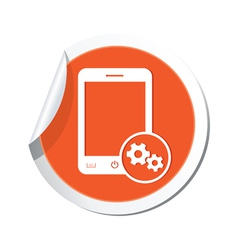phone settings icon orange sticker vector image vector image