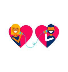 Valentine day couple talking online concept design vector