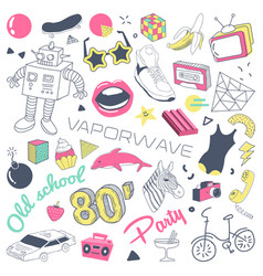 80s fashion hand drawn doodle with skateboard vector image