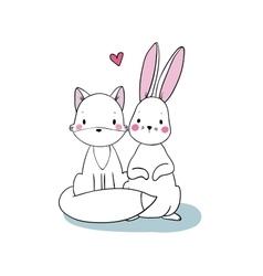 Cute cartoon fox and hare vector image vector image