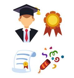 graduation man silhouette uniform avatar vector image