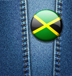 Jamaica Flag Badge On Jeans Denim Texture vector image vector image