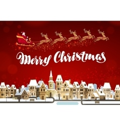 Merry Christmas Winter landscape with Santa Claus vector image