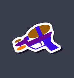 Paper sticker on stylish background toy gun vector
