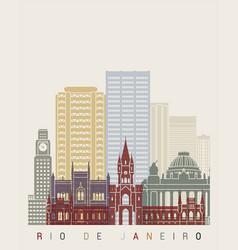 rio de janeiro v2 skyline poster vector image vector image