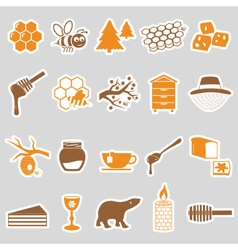 set of honey theme stickers icons eps10 vector image