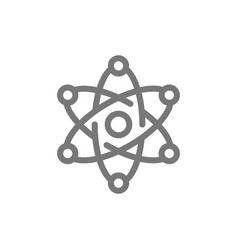 simple atom and molecule line icon symbol and vector image