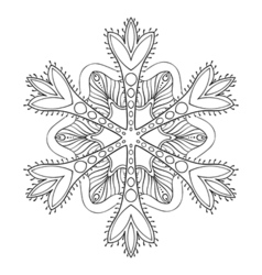 snow flake in zentangle style freehand doodle vector image vector image