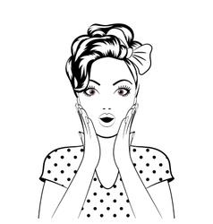 Black line art woman face vector image