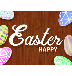 easter eggs on a wooden table vector image