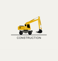 excavator works flat style vector image