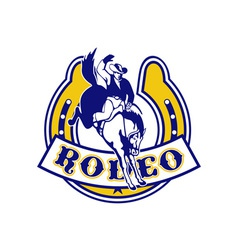 rodeo cowboy bucking bronco horseshoe vector image vector image